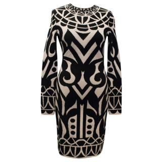 Temperley Black and Cream Patterned Knit Dress