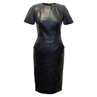Tabitha Webb Black Leather Bodycon Dress