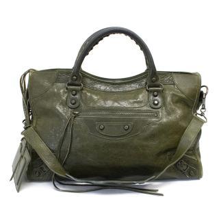 Balenciaga Green Nano City Shoulder Bag