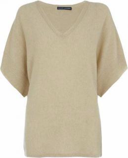 Ralph Lauren camel cashmere V- neck sweater short bat sleeves