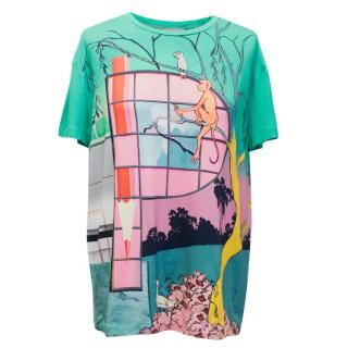 Mary Katrantzou Printed Graphic Silk Jersey Top