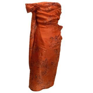 Micheal Van Der Ham Red Patterned Dress