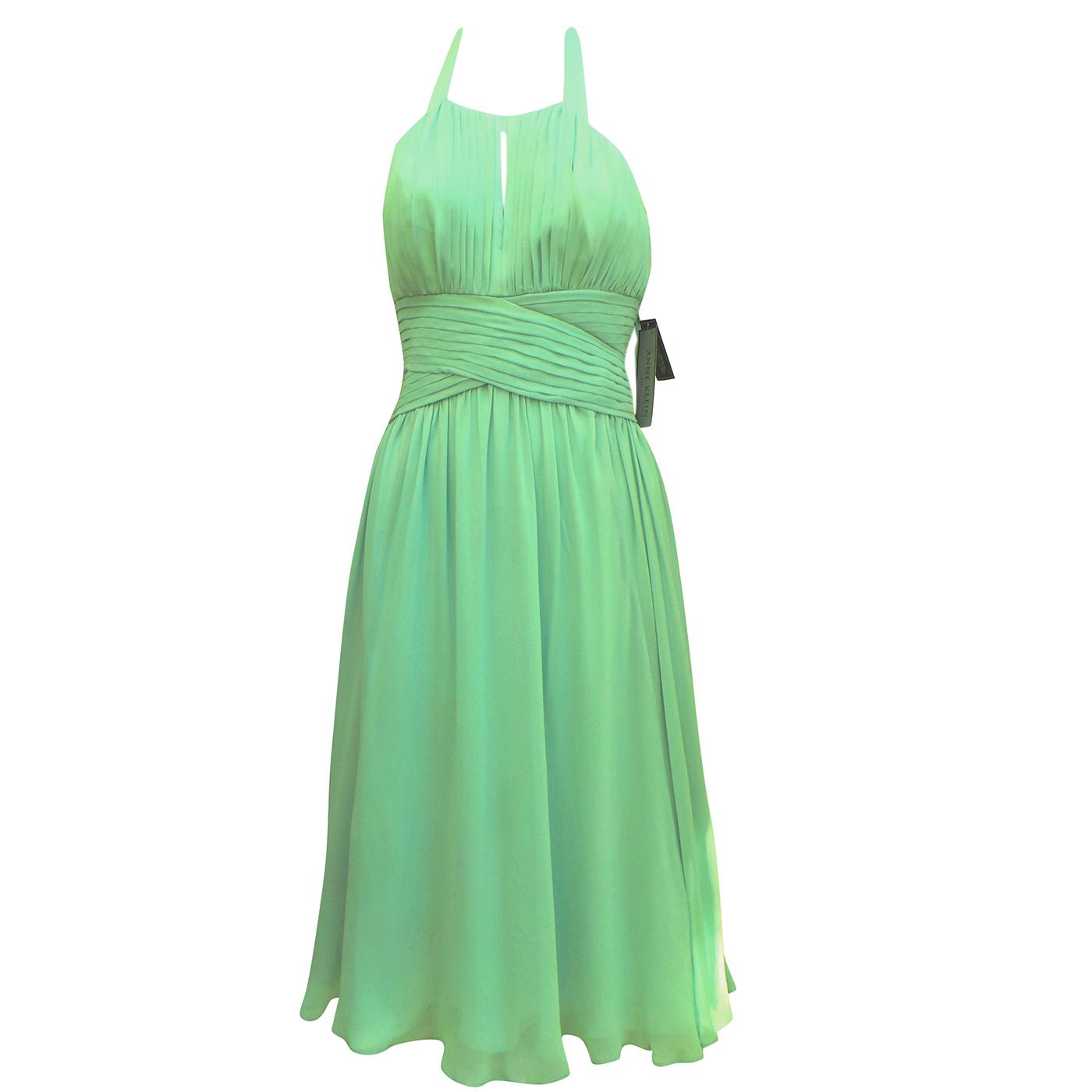 Anne Klein mint green silk halter neck dress