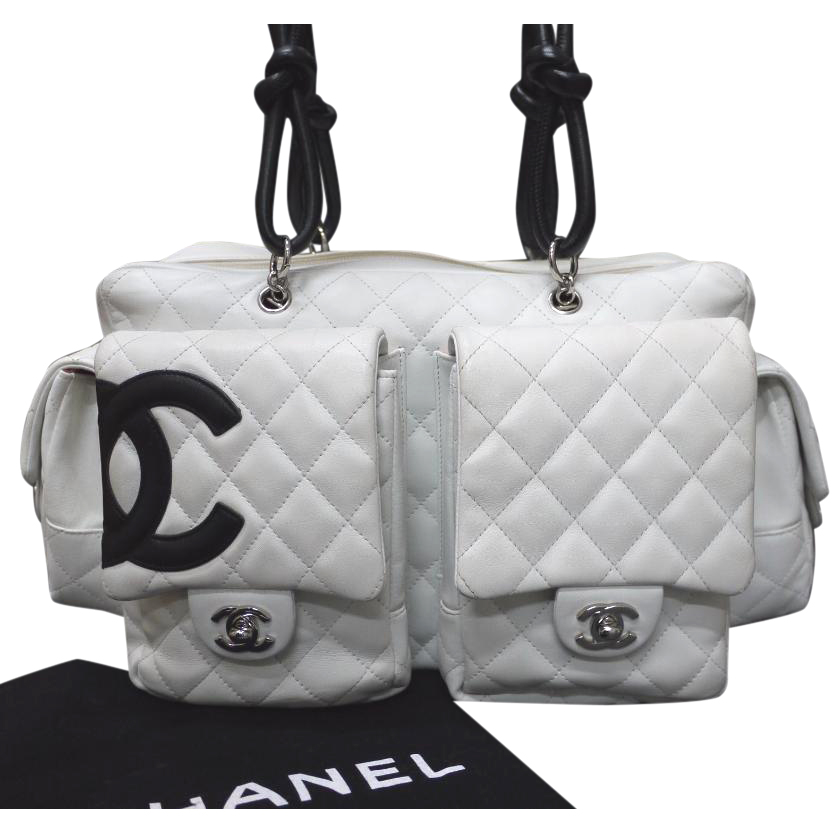 725f683bcd129c Chanel White Quilted Leather Cambon Reporter Shoulder Handbag | HEWI London