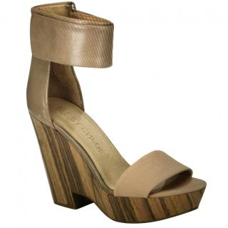 See by Chloe canvas leather and wood platform wedge