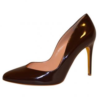 Rupert Sanderson Winona Vamp Brown Leather High Heel Pumps