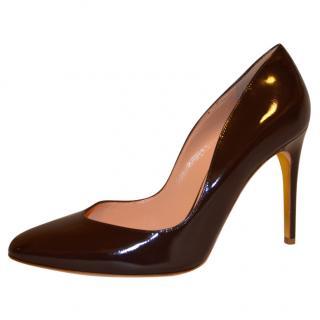 Rupert Sanderson Winona Vamp Brown Leather High Heel Pumps