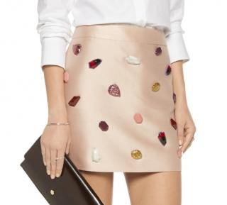 Stella McCartney stone-embellished satin-twill mini skirt