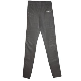 BNWT Joseph Grey leather leggings Fr 34 (UK 6 ) RRPgbp875