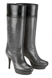 YSL Grey & Black 3/4 Length Pull on Platform Boot