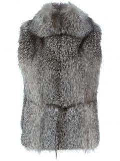 NEW BRUNELLO CUCINELLI brown FOX FUR belted vest gilet waistcoat