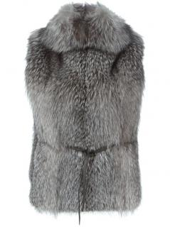 NEW BRUNELLO CUCINELLI brown FOX FUR belted pullover vest gilet waistcoat