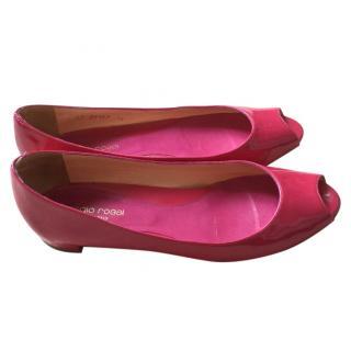 Sergio Rossi Pink Patent Peep Toe Flats