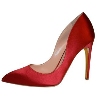 Rupert Sanderson Red  Satin High Heel Pumps