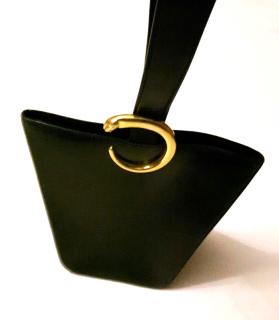 Cartier Logos Panther Logos Hand Bag Leather Black Gold