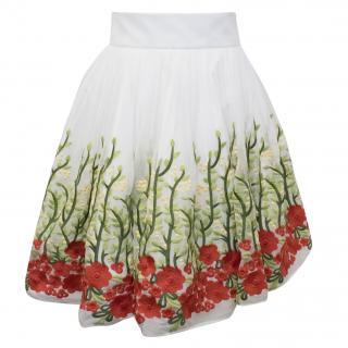 Bambah White Rose Garden Mini Skirt