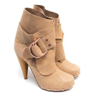 Mulberry Nude Leather Wrap Detail Ankle Boots