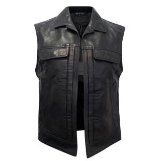Rag & Bone Black Leather Sleeveless Jacket