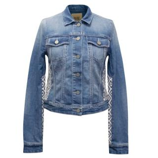 Paige Blue Denim Jacket With Embroidered Detail