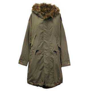 Smythe Khaki Fur Hooded Parka Coat