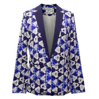 Baum Und Pferdgarten Benika Blue Patterned Silk Blend Blazer