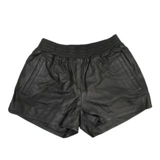 Anine Bing Black Leather Running Shorts