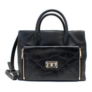 Diane von Furstenburg Black Leather Tote Bag