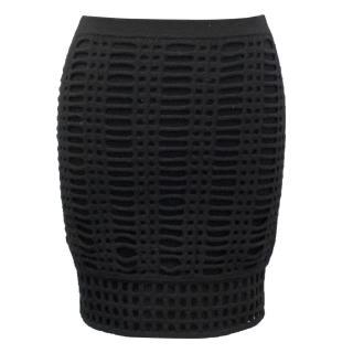 Pringle of Scotland Black Wool Mini Skirt