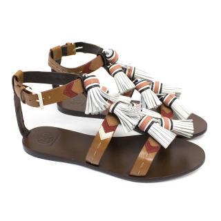 Tory Burch Weaver Tassel Flat Sandals