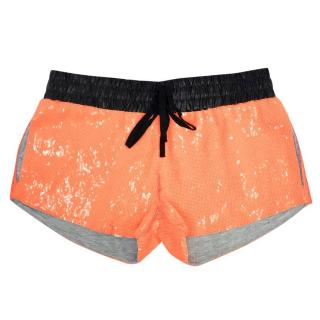Sass & Bide Neon Orange and Black Sequin Runner Shorts