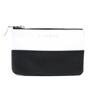 Sandro Black and White Leather Zip Purse
