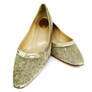 Rene Caovilla Gold Glitter Shoes