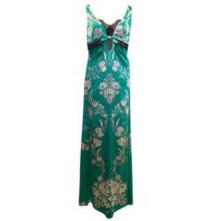 Roberto Cavalli Green Floral Gown