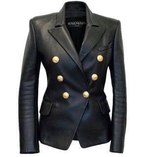 Balmain Leather Jacket with Gold Buttons