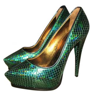 Lanvin Holographic Green Python Pumps