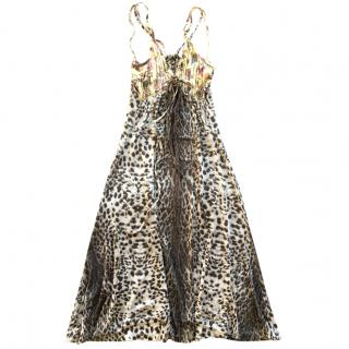 Just Cavalli leopard & flower printed jersey dress