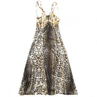 Just Cavalli leopard & flower printed jersey dress