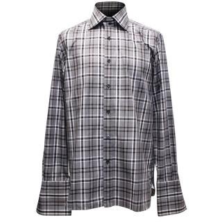 Tom Ford Mens Black And White Tartan Shirt