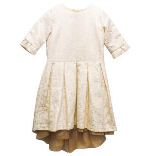 Marie Chantal Girls Gold Jacquard Mini Dress