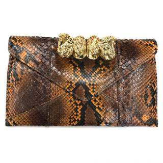 Maison Du Posh Python Clutch with Crystals