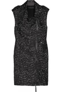 Karl Lagerfeld Black Sequin Biker Dress