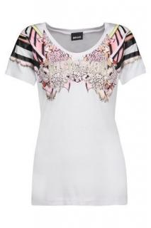 Just Cavalli White Printed T Shirt