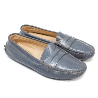 Tods Blue Leather Driving Shoes