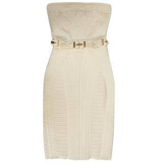Herve Leger Cream Bandeau Bodycon Dress