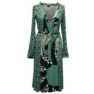 Issa Green Printed Wrap Dress