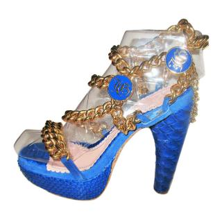 John Galliano Blue Python Sandals with Golden Chains