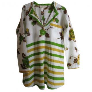 Marni floral/stripe print cotton tunic top.