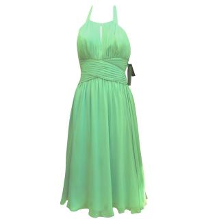 Anne Klein mint green silk halter neck dress
