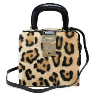 Dsquared2 Leopard Printed Calf Hair Mini Doctor Bag