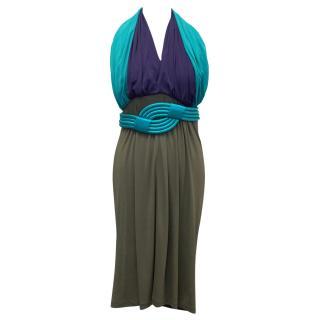 Escada Khaki and Turquoise Dress